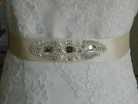 Свадьба - Wedding Bridal Sash Belt Bridesmaids Sash Belt Crystal Rhinestone Pearl Beaded Applique,- Nora -Ivory  Sastin Sash