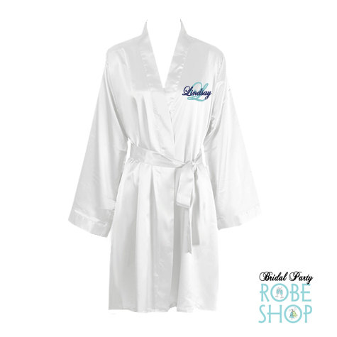 Wedding - Monogrammed Knee Length Satin Robe with Name and Initial, Bridal Robe, Bridal Lingerie