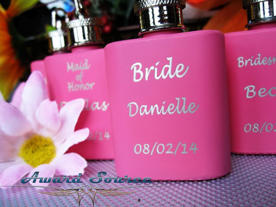 Wedding - Bridesmaid Gift - Personalized Custom Engraved 1 oz Key Chain Pink Stainless Steel Flask - Three Lines of Text Engraved