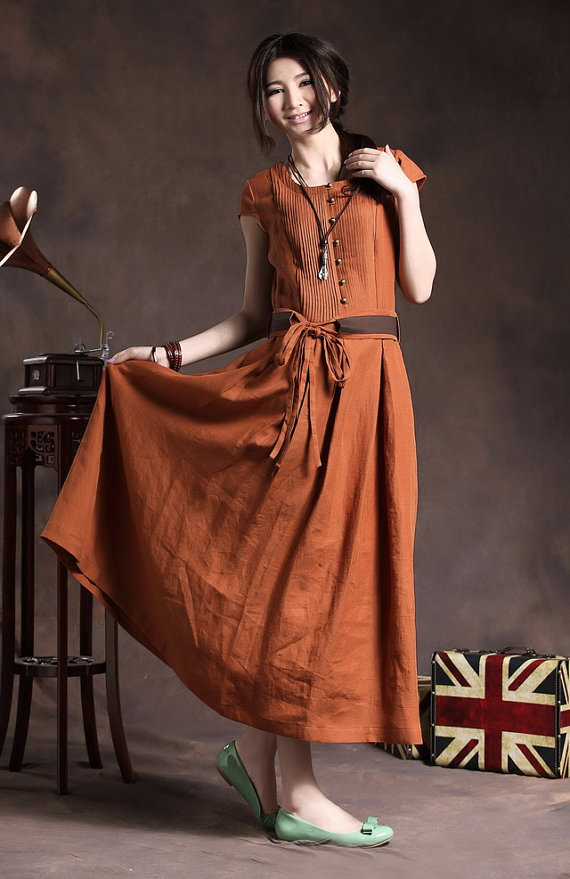 Maxi Linen Dress With Belt In Orangecocktail Wedding Sundress