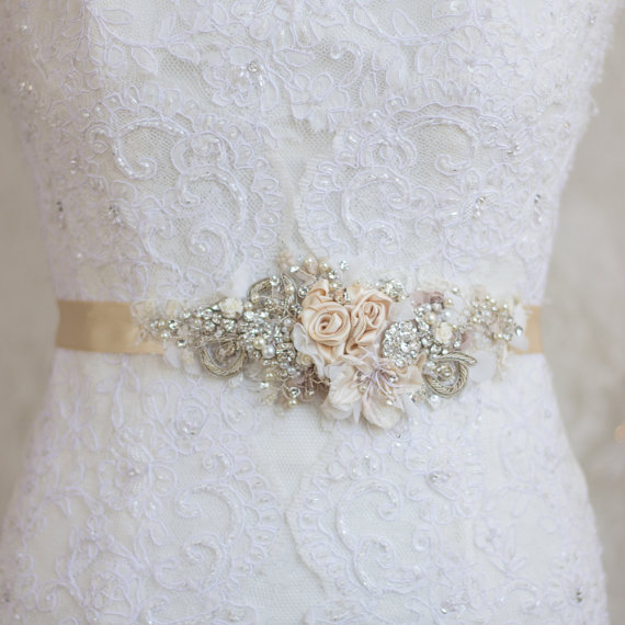 Champagne belt sash floral belt sash lace belt sash for Ivory wedding dress belt