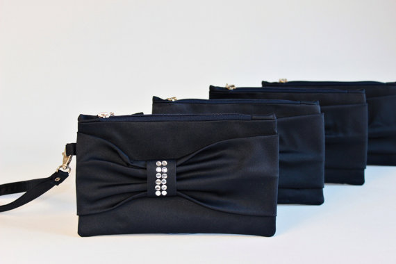 Mariage - Promotional sale  -Set of 6  - NAVY  Bow wristelt clutch,bridesmaid gift ,wedding gift ,make up bag,zipper , navy