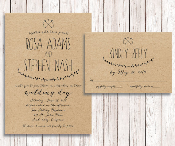 Rustic Wedding Invitation Rsvp Kraft Paper Wedding Invitation Rsvp