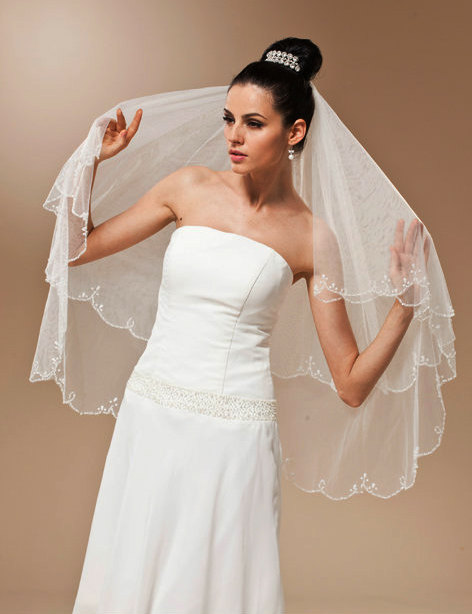 Ivory Two Tiers Layer Bridal Wedding Veil Fingertip