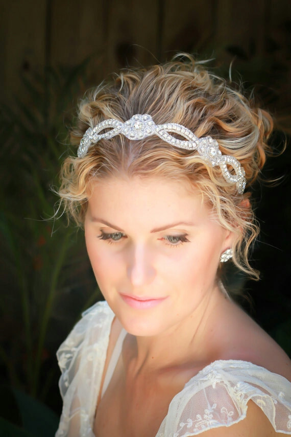 Свадьба - Lola  bridal headband,  rhinestone headband, wedding headband, bridal hair accessories, bohemian bridal headband