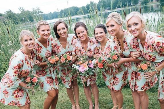 Mint Bridesmaids Robes Kimono Crossover Robes Spa Wraps Bridesmaids Gift Getting Ready Robes