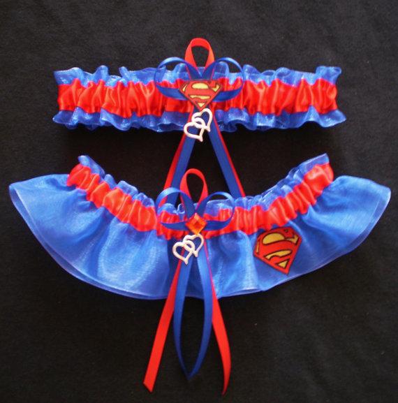 زفاف - Superman Logo Fabric Jewel Wedding Bridal Garter Set Prom Double Heart Charm