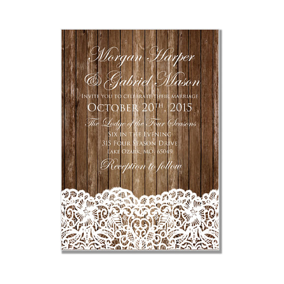 Wedding - Rustic Wedding Invitation - Country Chic - Rustic Wood Lace - Lace Wedding - DIY Wedding Invitations - INSTANT DOWNLOAD -  Microsoft Word