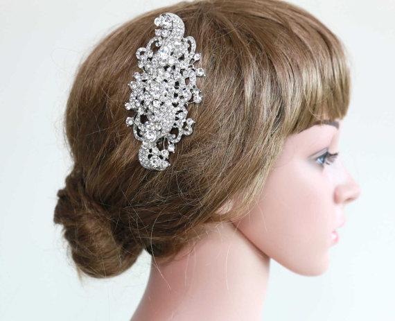 "Mariage - 4.5"" Large Vintage Style Crystal Rhinestone Glass Wedding Bridal Dress Brooch Sash/ Hair Comb BRH00507"