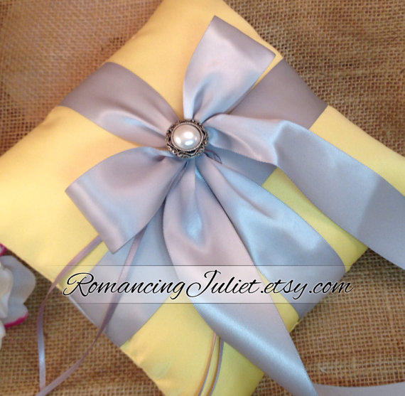 Свадьба - Romantic Satin Elite Ring Bearer Pillow with Delicate Pearl Accent...Choose the Colors...BOGO Half Off...shown in canary yellow/silver gray