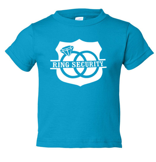 Wedding - RING SECURITY, Ring Bearer Shirt, T-Shirt, Baby Bodysuit, T shirt - Many Colors - Turquoise Blue