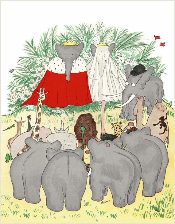 Wedding - Babar & Celeste Wedding Art, Marriage Ceremony Illustration, Babar the Elephant Nursery, Childrens Wall Art, Baby Room Decor 8x10 or 11x14