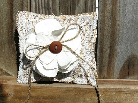 Wedding - Rustic PET burlap Lace Ring Bearer Pillow for DOG or PUPPY, Vintage Wedding Chic Fabric Flower, Custom button color