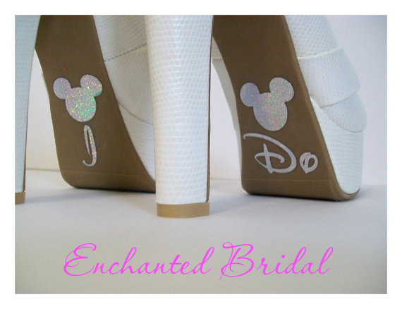 Mariage - Disney Inspired I Do Shoe Stickers You Pick Color Sparkly Wedding Shoe Decals