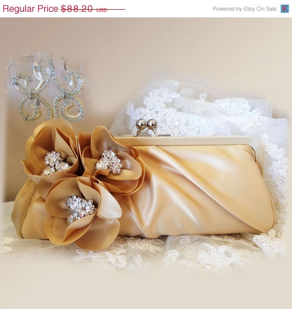 Wedding - Wedding clutch, Bridal clutch, bridal evening bag, bridal evening bag, rhinestone clutch, champagne clutch, Beige bag