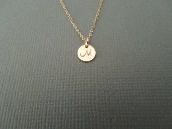 Tiny Initial Letter Monogram Necklace Small Gold Medallion Simple Bridesmaids Wedding