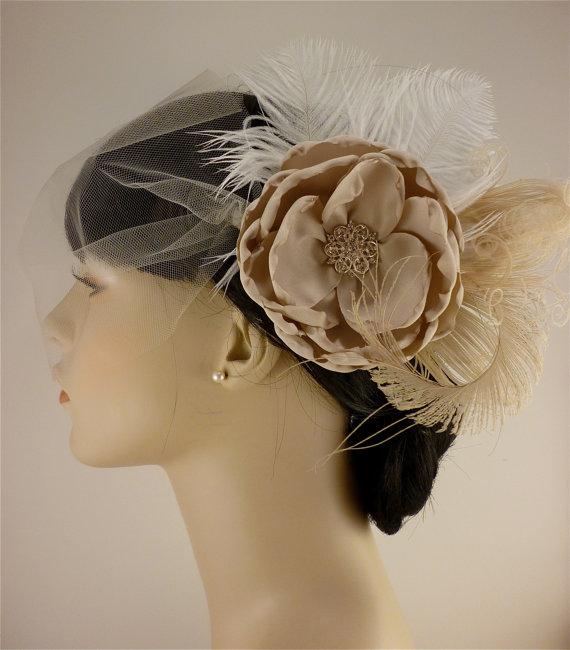 Mariage - Handmade Champagne Bridal Flower Fascinator, Bridal Fascinator, Bridal Flower Hair clip, Flower Hair Clip, Wedding Veil, Bridal Veil