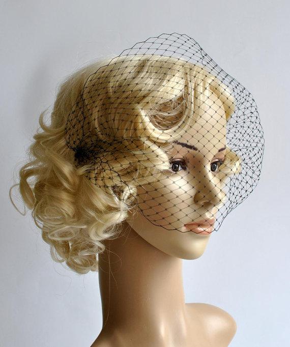 Свадьба - Black Bandeau Veil, Birdcage Veil, Wedding Veil, Bridal Veil, Russian Veil, Bird Cage Veil