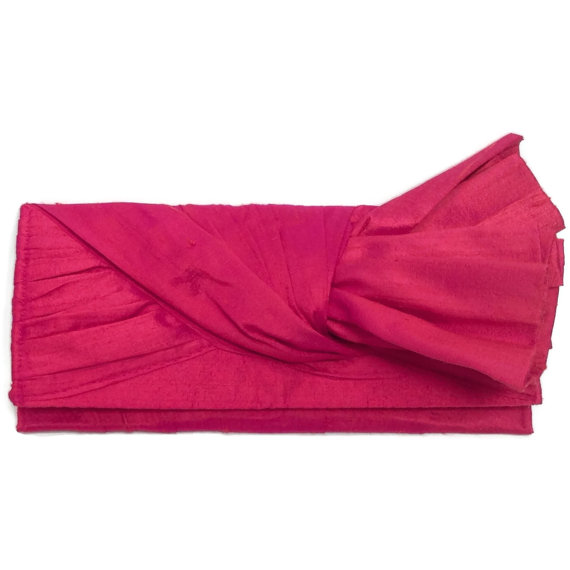 Свадьба - KNOT Clutch purse in bright coral silk // wedding clutch // bridal bag