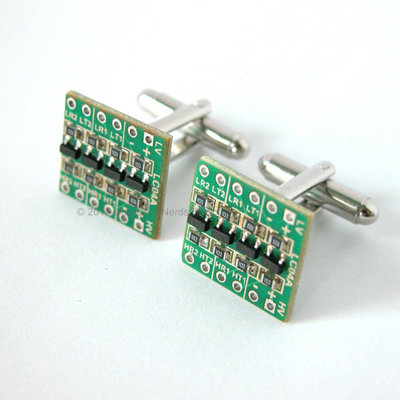 Wedding - Fathers Day - Groomsmen Gift - Green Circuit Board Silver Cufflinks - Mens Cufflinks - Gift for HIm - Special Occasion - Geekery - Best Man