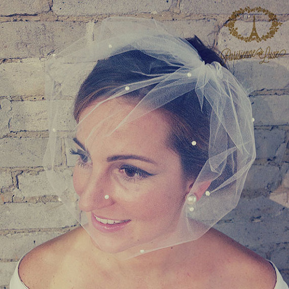 Birdcage Veil With Pearls Blusher Tulle Bridal White Ivory Off Sparkle Marie