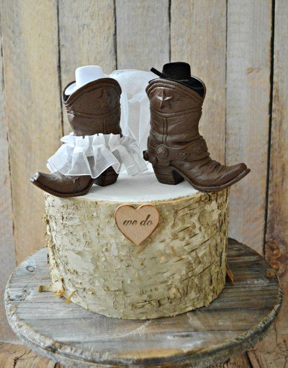 Mariage - Country western wedding-cowboy boots wedding cake topper-western wedding-cowboy and cowgirl boots topper-boots wedding topper-rustic wedding