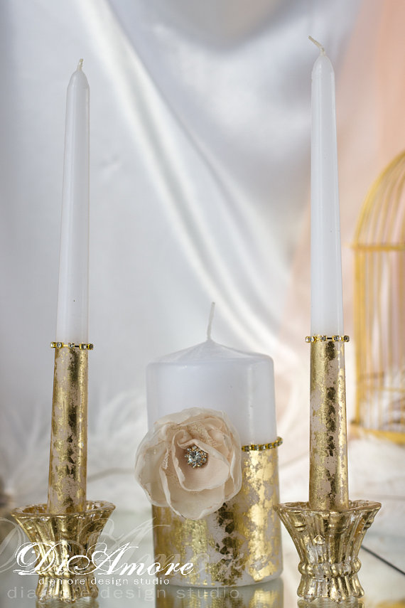 Wedding - Pink flower and gold painted handmade Wedding Unity Candle. Set of 3.