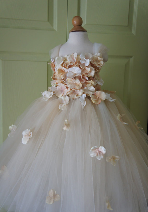 Flower girl dress champagne dress champagne tutu dress flower top