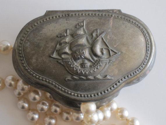 Vintage Nautical Jewelry Box Beach Wedding Decor Ring Bearers Box