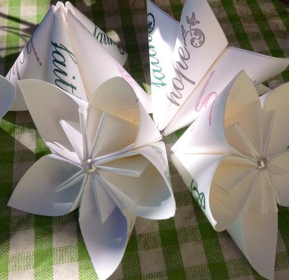 Wedding - 5 Origami Wedding Paper Flowers