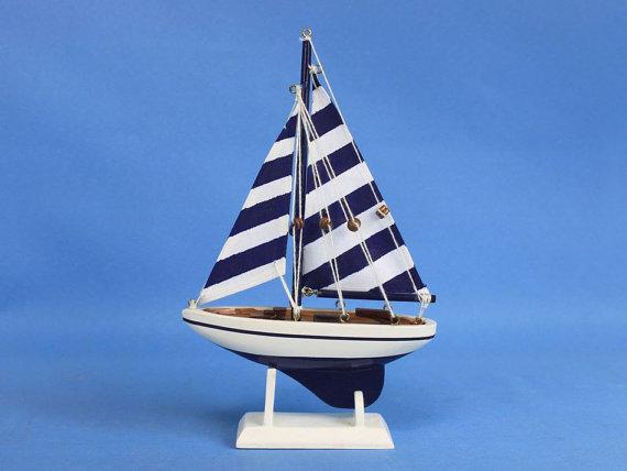 Blue Striped Pacific Sailer 9 Sailboat Wedding Cake Topper Sail
