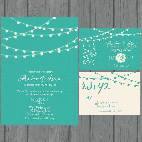 Hochzeit - Simple wedding invitation suite , modern, teal wedding invitation, non traditional, strings of lights, reception only invite