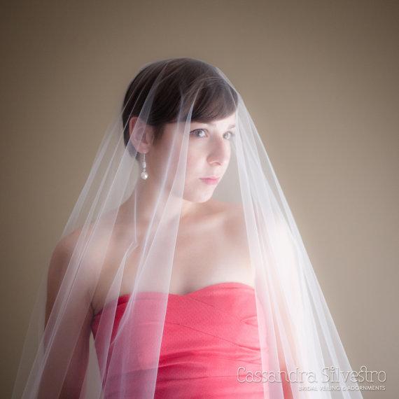 زفاف - Extra Wide Sheer Drop Wedding Veil (Cathedral Veil, Illusion Bridal Veil, Blusher, Raw Edge Veil, Drape Veil, Long Veil)