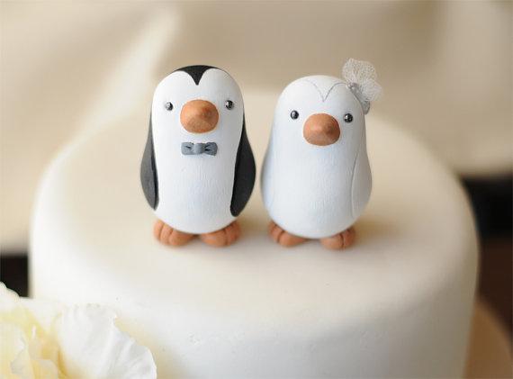 Свадьба - Wedding Cake Topper -- Penguin Cake Topper -- Small