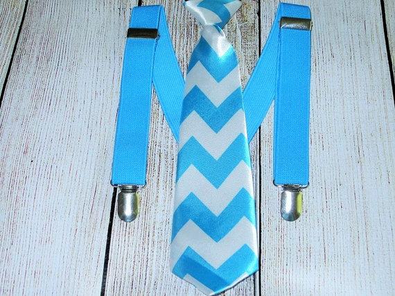Wedding - Boys Necktie Blue Suspenders Chevron Satin Blue White Neck Tie Infant Suspenders Toddler Necktie