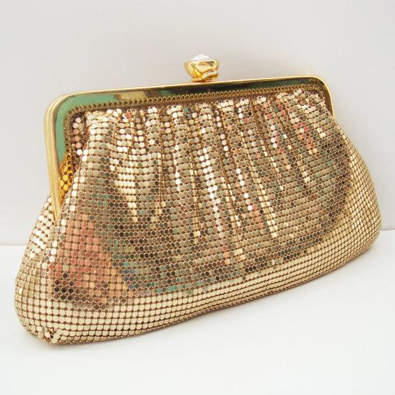Mariage - Gold Mesh Clutch, Whiting & Davis Chain Mesh Clutch Purse, Gold Wedding Purse, Formal Mesh and Rhinestone Evening Bag