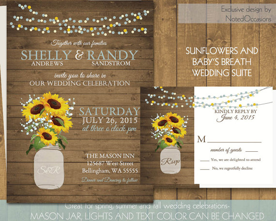 Cheap Sunflower Wedding Invitations: Mason Jar Sunflowers And Baby's Breath Wedding Invitations