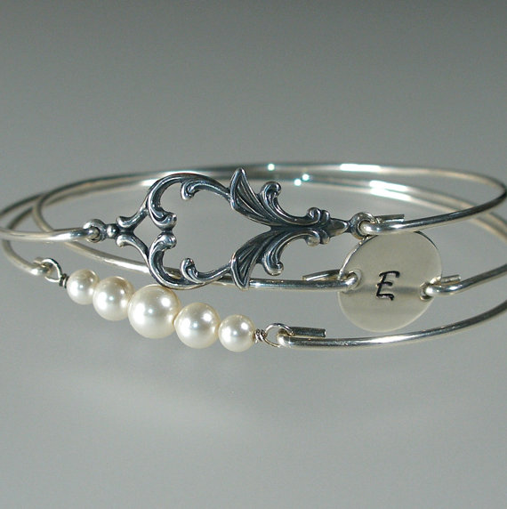 Mariage - Art Nouveau Bridesmaid Bangle Set, Personalized Bangle, Pearl Silver Bracelet, Bridesmaid Gift, Bridesmaid Jewelry, Bridal Set (S241S,)