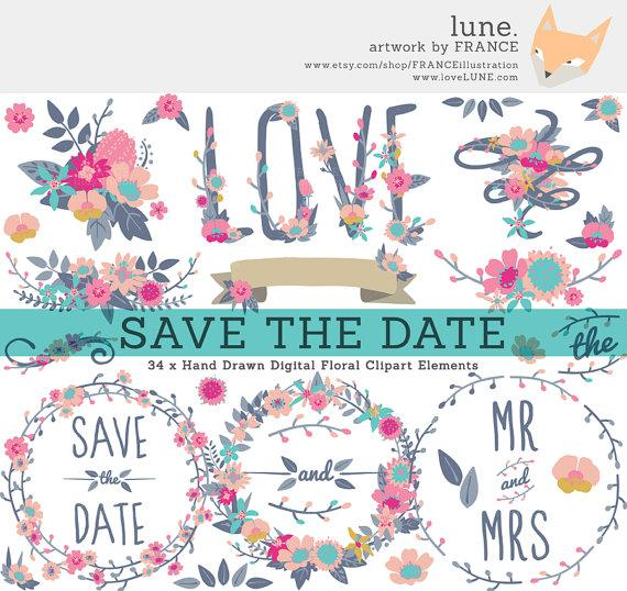 Hochzeit - Save The Date Wildflower Wedding Clipart. Flower Clipart Wreaths, Banners + Bouquets. Simple Cute Hand Drawn Bright Floral Digital Designs.