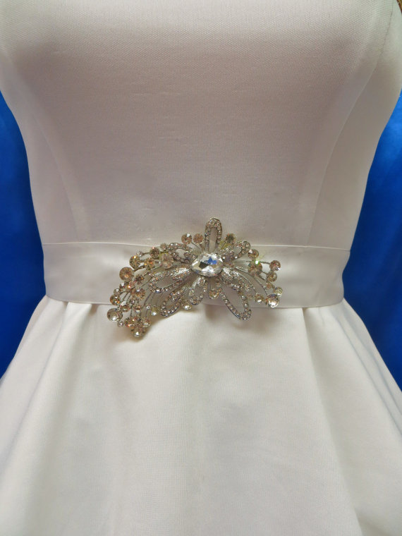 Rhinestone bridal sash wedding gown accessory crystal for Rhinestone sashes for wedding dresses