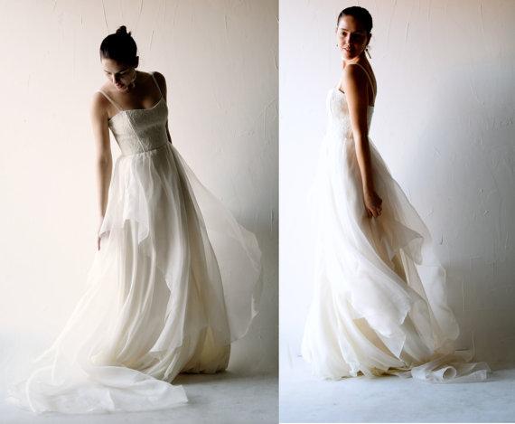 Свадьба - Wedding dress, Boho wedding dress, Bohemian wedding dress, Simple wedding dress, Silk wedding dress, lace dress, Alternative wedding dress
