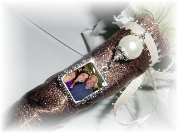 زفاف - DIY - Bouquet Charm - Silver Photo Charm Pearl- FREE SHIPPING