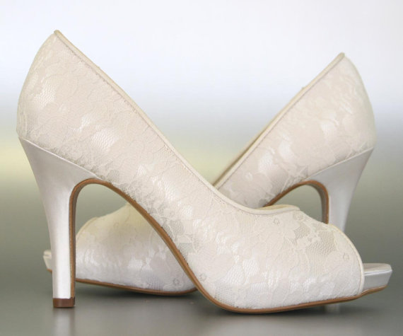 Wedding Shoes Ivory Peep Toe With Lace Overlay