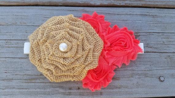 Mariage - Coral Burlap Headband-Rustic Headband-Shabby Chic Headband-Burlap Headband-Rustic Flower Girl-Boho Headband-Girls-Baby-Adult