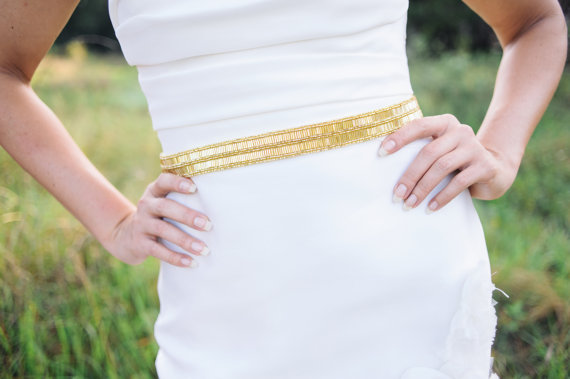 Свадьба - gold wedding belt, gold bridal sash , bridal beaded sash
