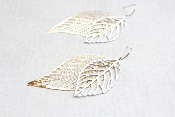 Mariage - Big Gold and Silver Leaf Earrings Large Leaves Filigree Modern Long Dangle Bridal Jewelry Bridesmaids Gift For Girlfriend Nature Jewelry