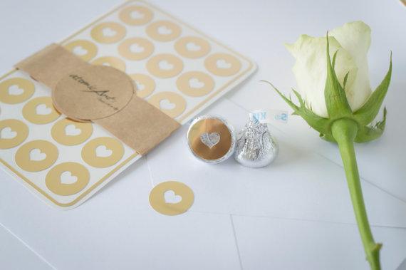 24 Envelope Seals In Gold Foil
