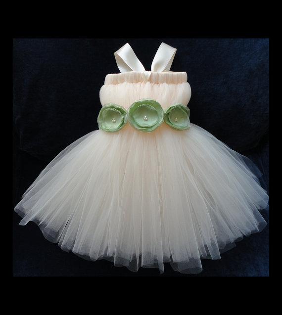 Wedding - Flower Girl Dress, Little Girls Formal Dresses, Ivory and Sage Green Flower Girl Dress