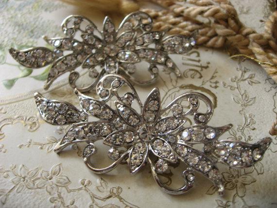Свадьба - Victorian glamours wedding Swarovski rhinestone crystal bridal bridesmaids shoes clips