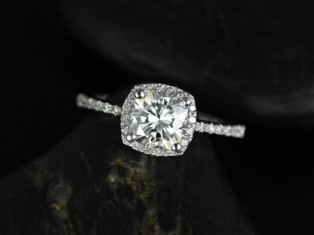Mariage - Barra 6mm 14kt White Gold Cushion FB Moissanite and Diamonds Halo Engagement Ring (Other metals and stone options available)